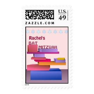 Colored Blocks Bat Mitzvah Postage Stamp