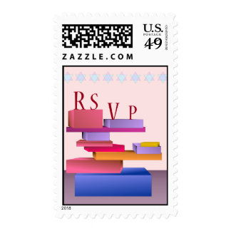 Colored Blocks RSVP Postage Stamp