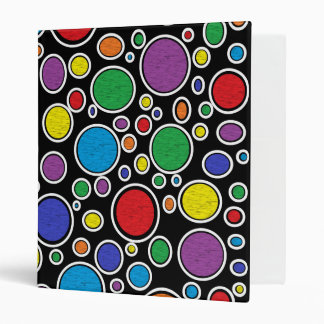 Colored Bubbles Black 3 Ring Binder