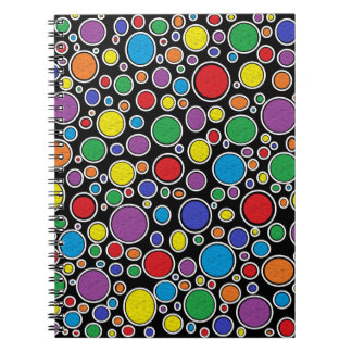 Colored Bubbles Black Notebook