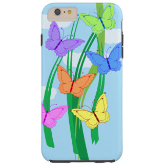 Colored Butterflies and Sky Tough iPhone 6 Plus Case