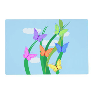 Colored Butterflies and Sky Laminated Place Mat