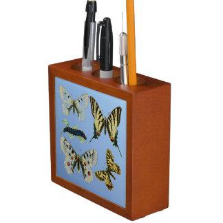 Colored Butterflies, Caterpillars and Moth Desk Organizer