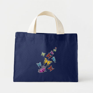 Colored Butterflies Spring Mini Tote Bag