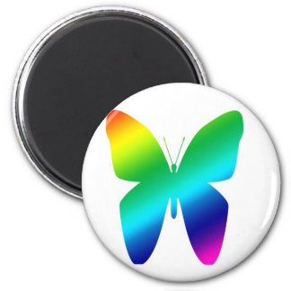 Colored Butterfly 2 Inch Round Magnet