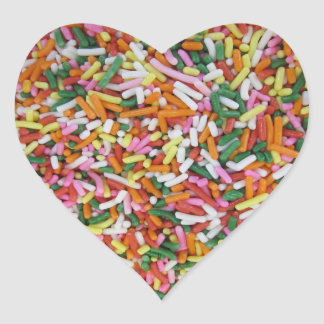 colored Candy sprinkes Texture Template Heart Sticker