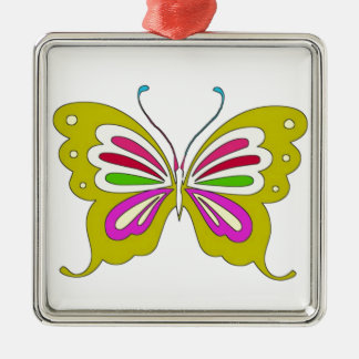 Colored Cartoon Butterfly Metal Ornament