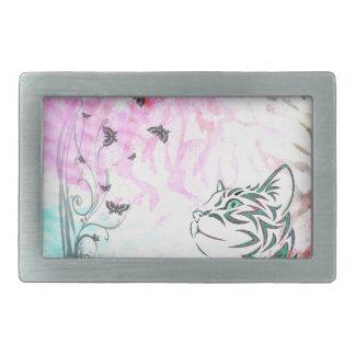 Colored Cat, Butterflies and Floral Swirls Rectangular Belt Buckles