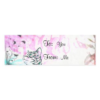 Colored Cat Butterflies and Floral Swirls Business Card Templates