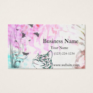 Colored Cat, Butterflies and Floral Swirls Business Card