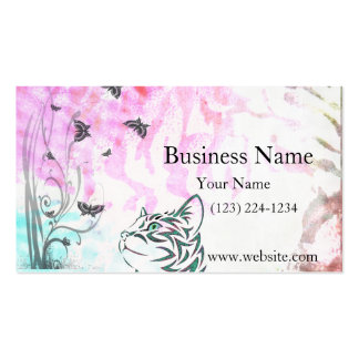 Colored Cat Butterflies and Floral Swirls Business Cards