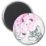 Colored Cat, Butterflies and Floral Swirls Fridge Magnets