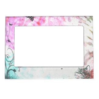Colored Cat, Butterflies and Floral Swirls Photo Frame Magnet