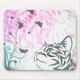 Colored Cat, Butterflies and Floral Swirls Mouse Pad