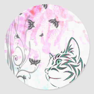 Colored Cat, Butterflies and Floral Swirls Round Stickers