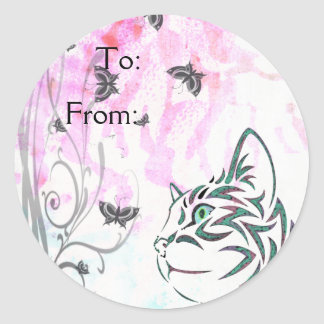Colored Cat, Butterflies and Floral Swirls Stickers