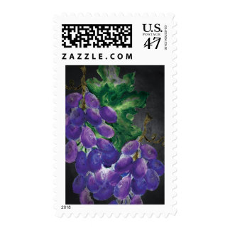 Colored Chalk Board Purple Grapes Postage Stamp