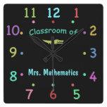 Colored Chalk Custom Teacher Clock