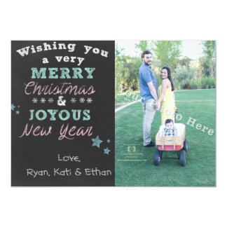 Colored Chalkboard Art Christmas Photo Card