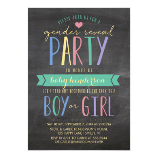 Colored Chalkboard Gender Reveal Party Invitation