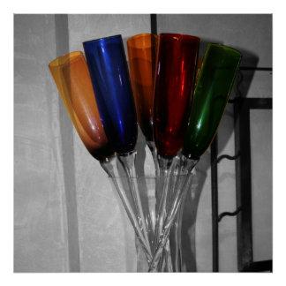 Colored Champagne Flutes Poster