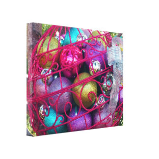 Colored Christmas Balls by JanLynn Photography Canvas Print