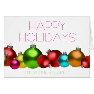 Colored christmas glass balls card