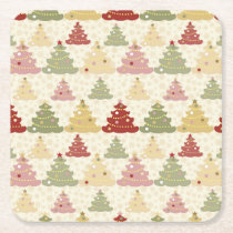 Colored Christmas tree Square Paper Coaster