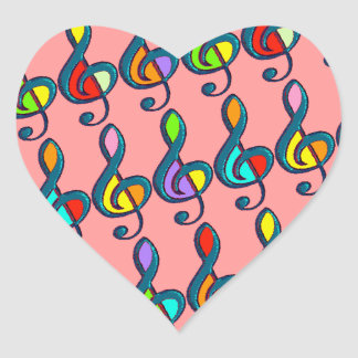 colored clave music notes pattern heart sticker