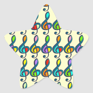 colored clave music notes pattern star sticker