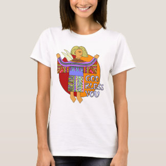 Colored Clip Art Angel - God Bless You T-Shirt