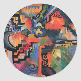 Colored composition by August Macke Classic Round Sticker