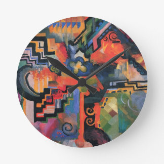 Colored composition by August Macke Round Clock