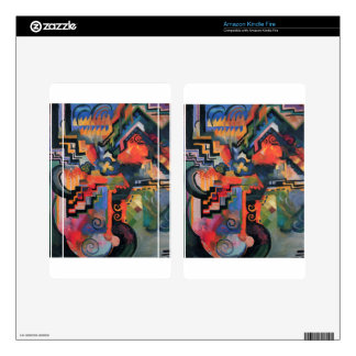 Colored composition by August Macke Skin For Kindle Fire