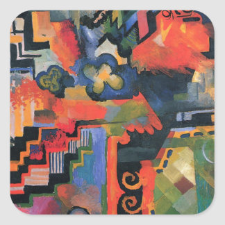 Colored composition by August Macke Square Sticker