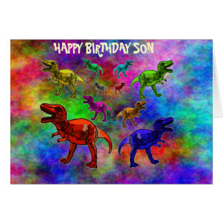 Colored Dinosaurs on Pastel Background Card