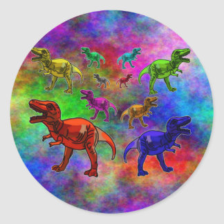 Colored Dinosaurs on Pastel Background Classic Round Sticker