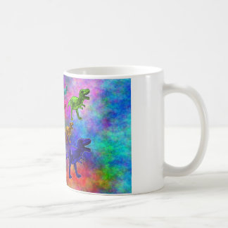 Colored Dinosaurs on Pastel Background Coffee Mug