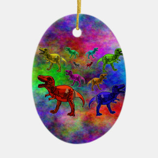 Colored Dinosaurs on Pastel Background Double-Sided Oval Ceramic Christmas Ornament