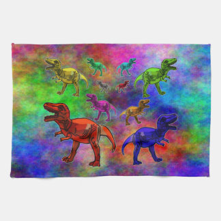 Colored Dinosaurs on Pastel Background Hand Towel