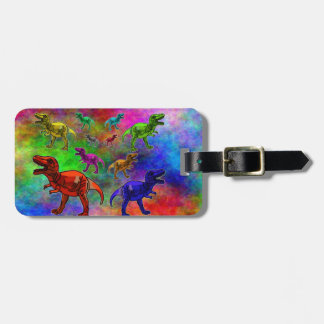Colored Dinosaurs on Pastel Background Luggage Tag