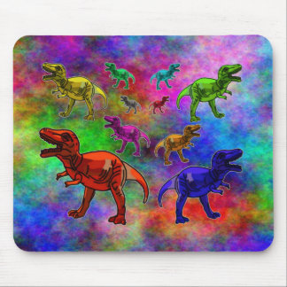 Colored Dinosaurs on Pastel Background Mouse Pad