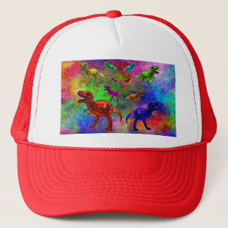 Colored Dinosaurs on Pastel Background Trucker Hat