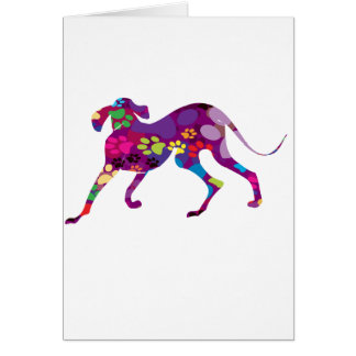 Colored Dog Paws Greeting Cards