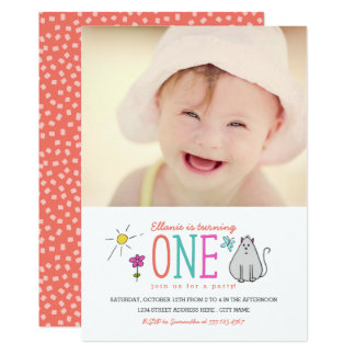 Colored Doodles 1st Birthday Party Invite | Kitty