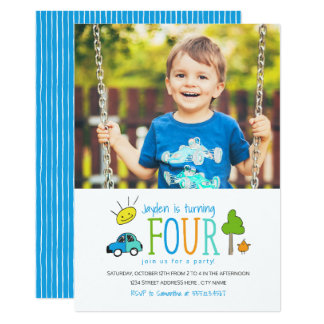 Colored Doodles 4th Birthday Party Invite / Car