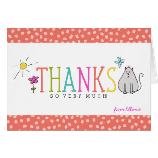 Colored Doodles Thank You Note Card / Kitty