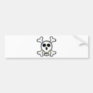 Colored Dots Skull and Crossbones Car Bumper Sticker