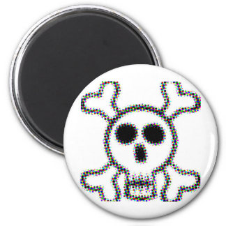 Colored Dots Skull and Crossbones Magnet