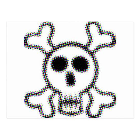 Colored Dots Skull and Crossbones Postcard